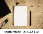 top view of office desk. | Shutterstock . vector #216665110