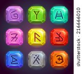 Shiny square stones with fantastic symbols. Runes on the rocks in different colors, beautiful elements for game design.