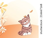 greeting card with kitten and... | Shutterstock .eps vector #216667168