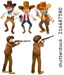 illustraion of cowboys and... | Shutterstock .eps vector #216687580