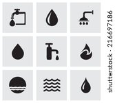 vector black water icons set on ... | Shutterstock .eps vector #216697186