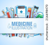 medical flat sticker background ... | Shutterstock .eps vector #216698470