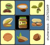vector nuts icons set  | Shutterstock .eps vector #216702649