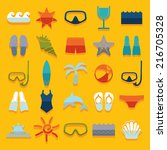 set of summer tourism icons | Shutterstock .eps vector #216705328