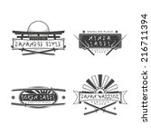 set of vector monochrome japan style banners and logos with cold weapons