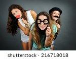 funny girls | Shutterstock . vector #216718018