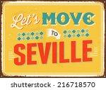 vintage metal sign   let's move ... | Shutterstock . vector #216718570
