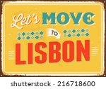 vintage metal sign   let's move ... | Shutterstock . vector #216718600