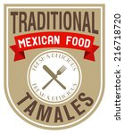 mexican food tamales label | Shutterstock .eps vector #216718720