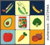 vector vegetable icons  | Shutterstock .eps vector #216729466