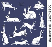 Stock vector hare silhouette set isolated on white background vector illustration 216749500