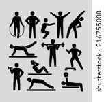 fitness people icons  | Shutterstock .eps vector #216755008