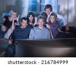 friends watching a movie. | Shutterstock . vector #216784999