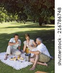people having wine at a park. | Shutterstock . vector #216786748