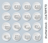 Set of round icons with web-pages on the gray background