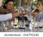 wine tasters tasting wine. | Shutterstock . vector #216792130