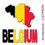belgium map flag and text... | Shutterstock .eps vector #216794059