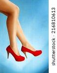 perfect female legs wearing...   Shutterstock . vector #216810613