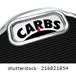 carbs word on a scale to... | Shutterstock . vector #216821854