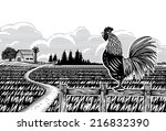 Woodcut Style  Farm Scene With...