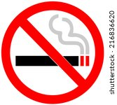 no smoking sign on white... | Shutterstock .eps vector #216836620