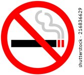 no smoking sign on white... | Shutterstock .eps vector #216836629