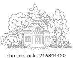 countryside house with a garden   Shutterstock .eps vector #216844420