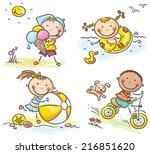 summer kids activities outdoors  | Shutterstock .eps vector #216851620