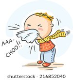 child has got flu and is... | Shutterstock .eps vector #216852040