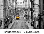 famous yellow tram in the... | Shutterstock . vector #216863326