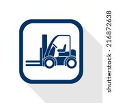 square blue icon forklift truck ...