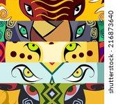 animal eyes. elephant  buffalo  ... | Shutterstock .eps vector #216873640
