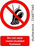 do not wear metal studded... | Shutterstock .eps vector #216877660