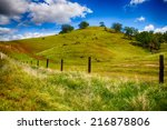 Rolling Green Hills of a ranch outside Fresno, California on bright spring day.