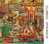 vintage background in egyptian style - stock photo
