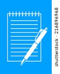 white ballpoint and notepad on... | Shutterstock .eps vector #216896968
