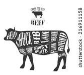 vector beef cuts diagram in...