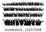 silhouette crowd raising hands... | Shutterstock .eps vector #216915208