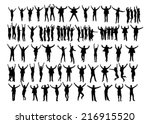 collage of silhouette business... | Shutterstock .eps vector #216915520