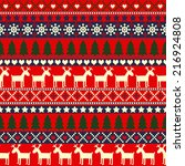traditional christmas knitted... | Shutterstock .eps vector #216924808
