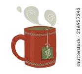 cartoon cup of tea flat icon....
