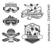 set of snowboarding emblems ... | Shutterstock .eps vector #216927640