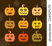 set of halloween pumpkin with... | Shutterstock .eps vector #216929179