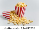 full popcorn in classic popcorn ...   Shutterstock . vector #216936910