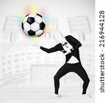 funny man in full body suit... | Shutterstock . vector #216944128