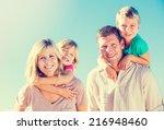 portrait of happy family of...   Shutterstock . vector #216948460