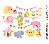 cute circus elephants in soft... | Shutterstock .eps vector #216952774