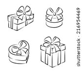 gift boxes icons or symbols ... | Shutterstock .eps vector #216954469