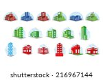 a set of colored buildings on a ... | Shutterstock .eps vector #216967144
