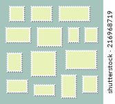 empty blank postage stamps... | Shutterstock .eps vector #216968719